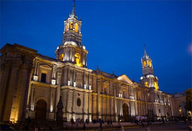 catedral de arequipa nocturna peru