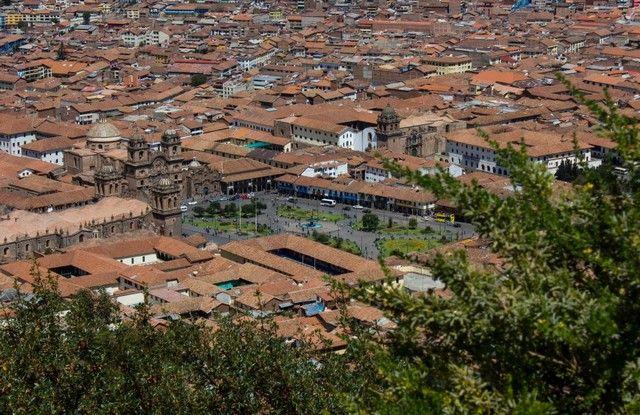 plaza de armas cuzco desde el cristo blanco