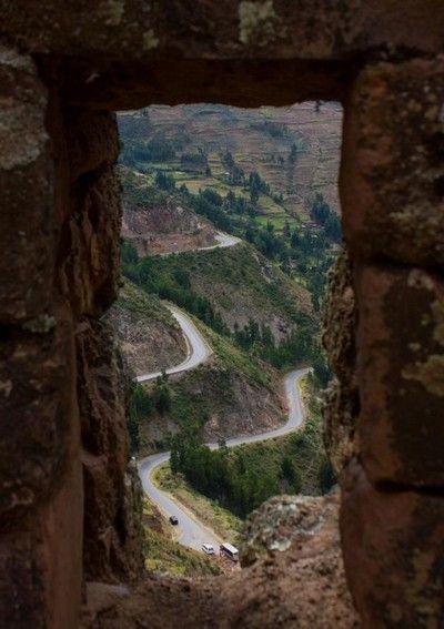 ruinas de pisac carretera de acceso peru