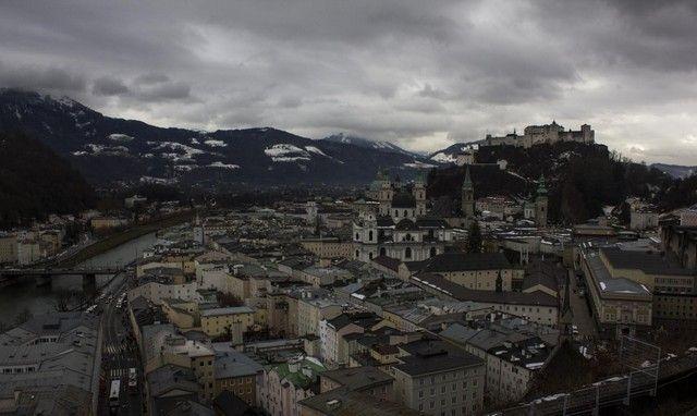 vista general de salzburgo en navidad