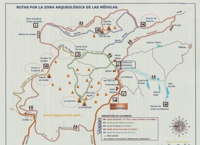 mapa zona arqueologica las medulas leon
