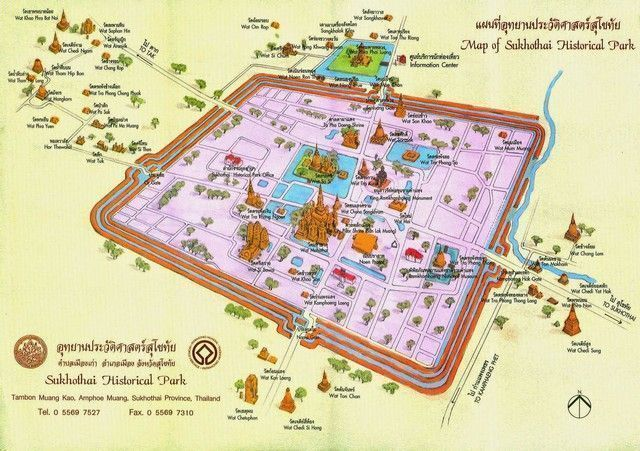 mapa turístico de sukhotai