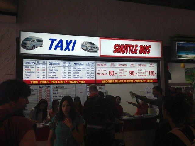 Precios de los distintos trasportes desde el aeropuerto de Krabi