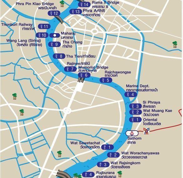 mapa chao phraya express boat