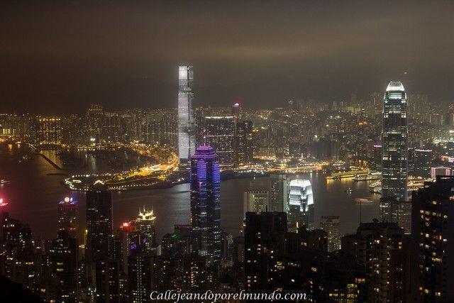 Victoria Peak nocturna Hong Kong