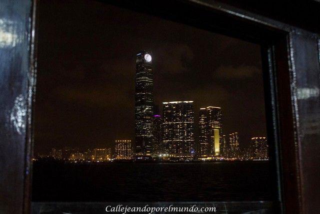 hong+kong+noche Foto nocturna desde el Ferry