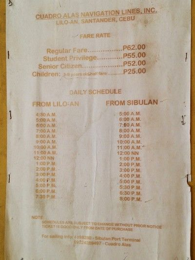 horario ferry de Liloan a Sibulan Cebu