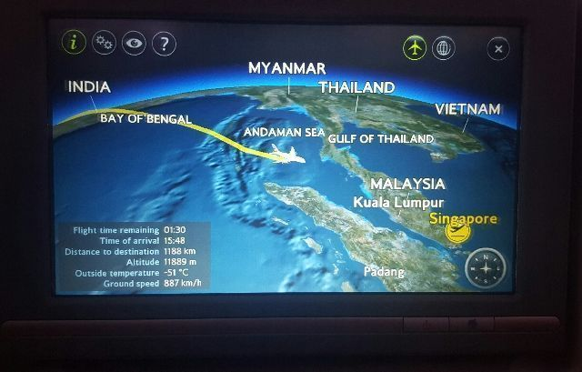 pantalla vuelo bristish airways londres singapur