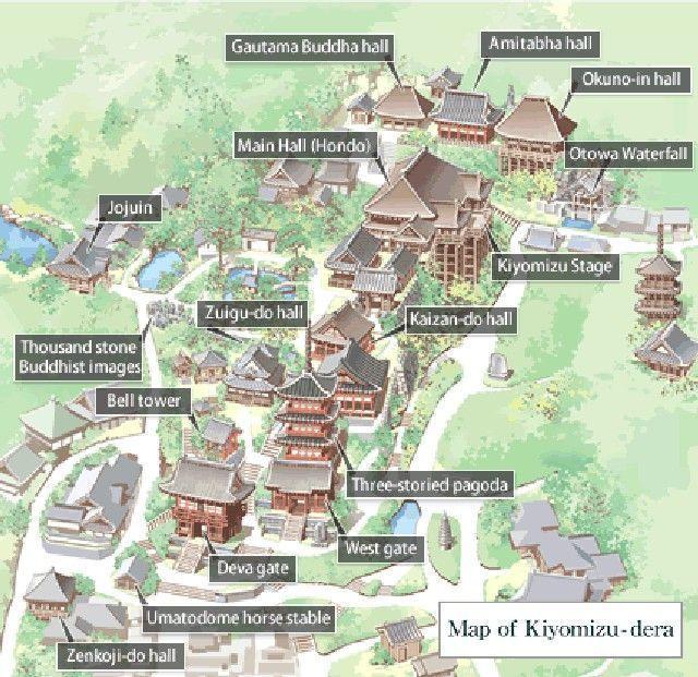 mapa kiyomizudera kioto japon