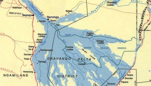 Mapa del Delta del Okavango
