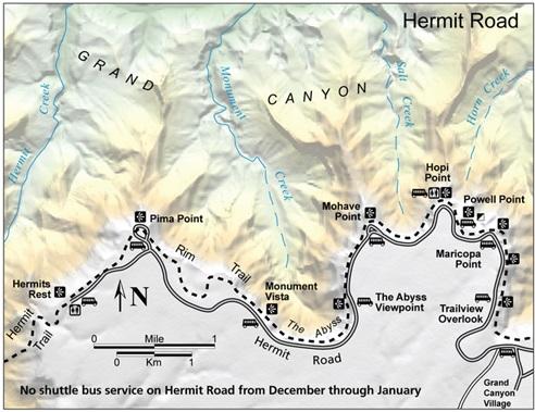 miradores de la ruta roja Gran Cañon del Colorado