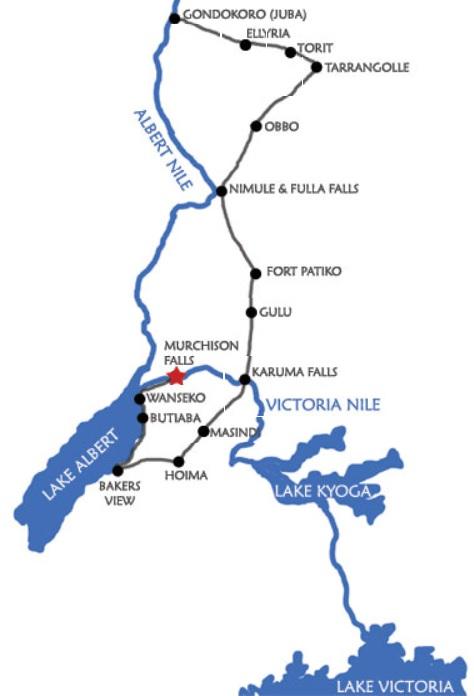 mapa del viaje de Baker hacia Muchirson falls.