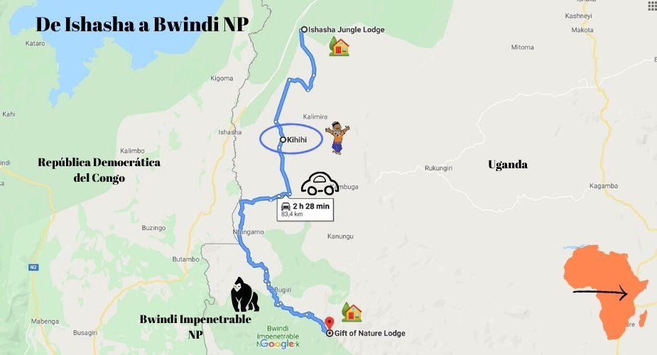 de ishasha al bosque impenetrable bwindi uganda